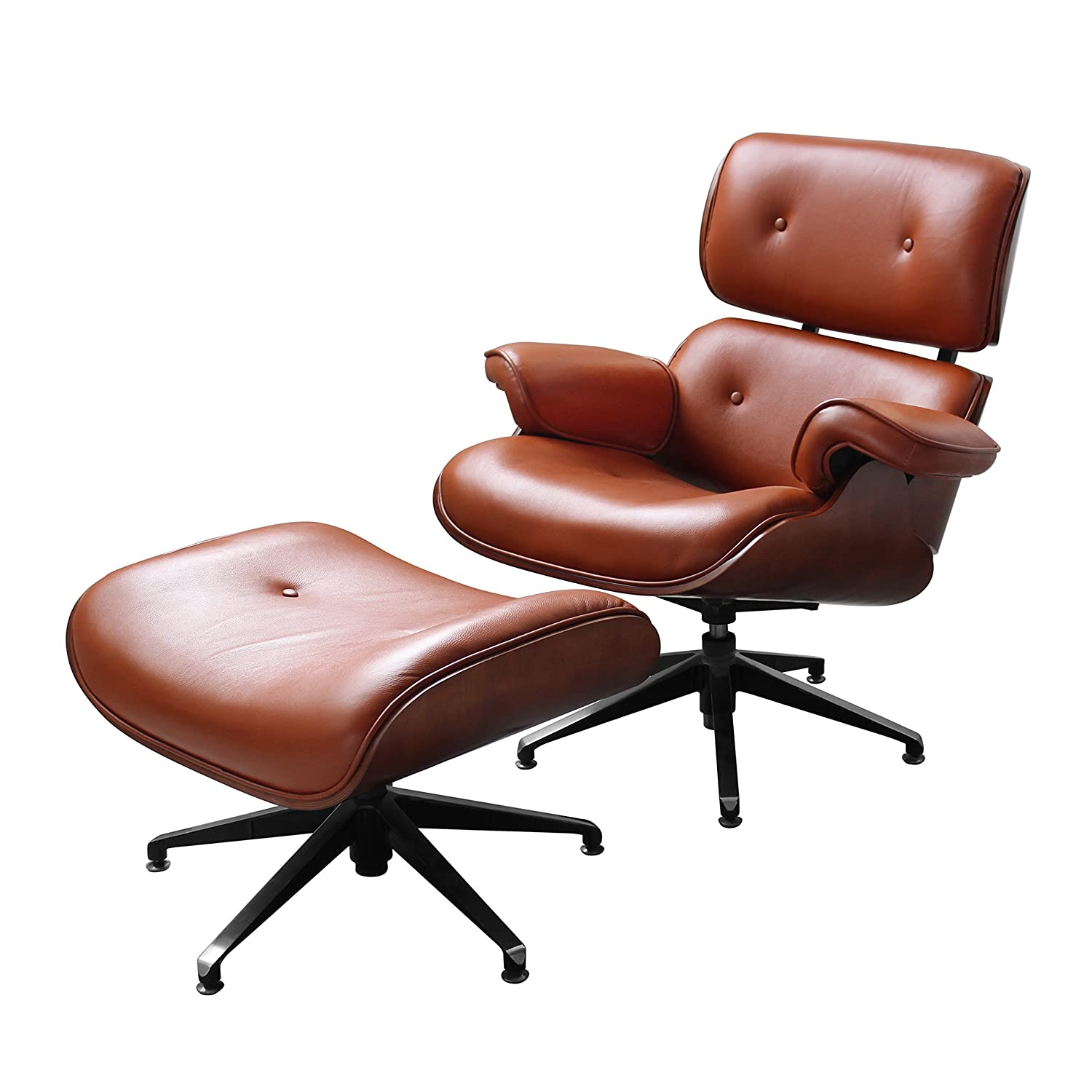 Premier Housewares Leather Swivel Chair and Footstool Tan