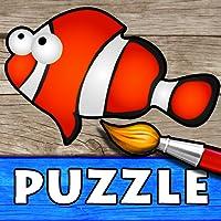 Océan - Puzzle, Couleurs et Dessins pour Enfants, Jeux de Coloriage et Peinture avec les Animaux de la Mer