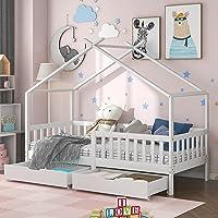 ModernLuxe Lit pour enfant 90 x 200 cm, lit en bois pour enfants, avec tableau, sommier à lattes, protection anti-chute…