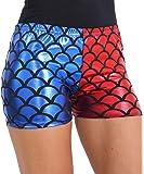 Damen Rot Blau Nasses Aussehen Metallisch Heiss Hose Pants