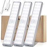 Schrankbeleuchtung mit Bewegungsmelder, Meromore 30 er LED Wiederaufladbar Schranklicht, USB Nachtlicht für Küche, Kleidersch