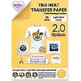 TransOurDream Tru-Transfer Paper 20 Sheets A4 Inkjet Iron on Heat Transfer Paper for Light Fabric Upgraded Cricut Transfer Pa