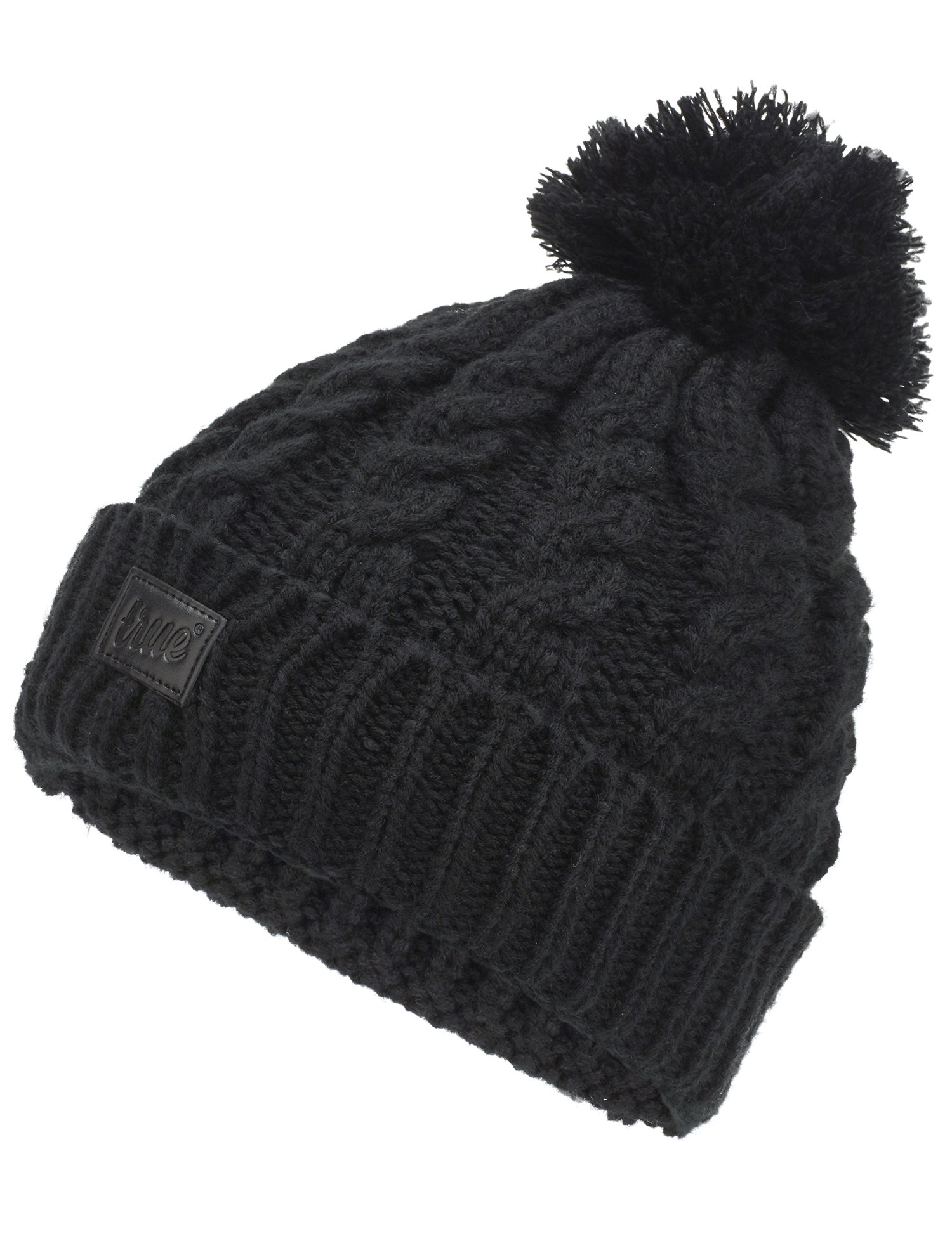 Womens Beanie Hat - Stylish Black Chunky Cable Knitted Bobble Hat wi ... a505e77eb3f