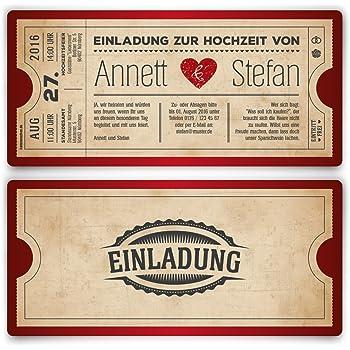 Einladungskarten Zur Hochzeit (50 Stück) Als Eintrittskarte Vintage Herz  Retro Einladung Karte In Rot