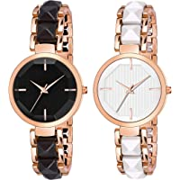 Frozil Analog Black White Dial Stainless Steel Strap Combo Watch for Womens and Girls Pack of 2