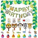 Herefun Giungla Decorazioni di Compleanno, 49 Pezzi Buon Compleanno Banner Safari Forest Animal per Forestland Ghirlanda Fore