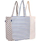 AQVA 3-Pack Reusable Cotton Grocery Shopping Tote Bags, 3 Designs, 15 x 16.5 x 4 Inches