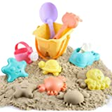 BeebeeRun Juguetes de Playa para Niños,Moldes de Arena para Niño con Moldes Regadera Cubo Rastrillo Bolsa de Malla,Juguete de
