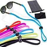 6 Pack Sunglass Glasses Straps Adjustable and Stretchy - Universal Fit for Kids to Adult Sunglasses - Active Sport…
