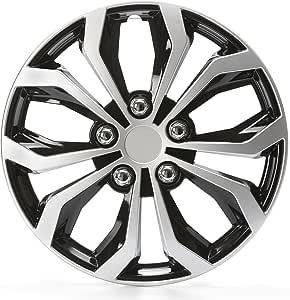 Cartrend 75567 Daytona Universal Radzierblenden In Schwarz Silber Für 14 Zoll Räder 4 Radkappen Aus Robustem Kunststoff Auto