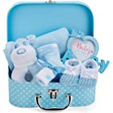 Baby Gift Set - Blue Hamper Box for Baby Boy with Baby Gifts Including a Rattle, Photo Frame, Muslin Cloth, Bib, Socks…