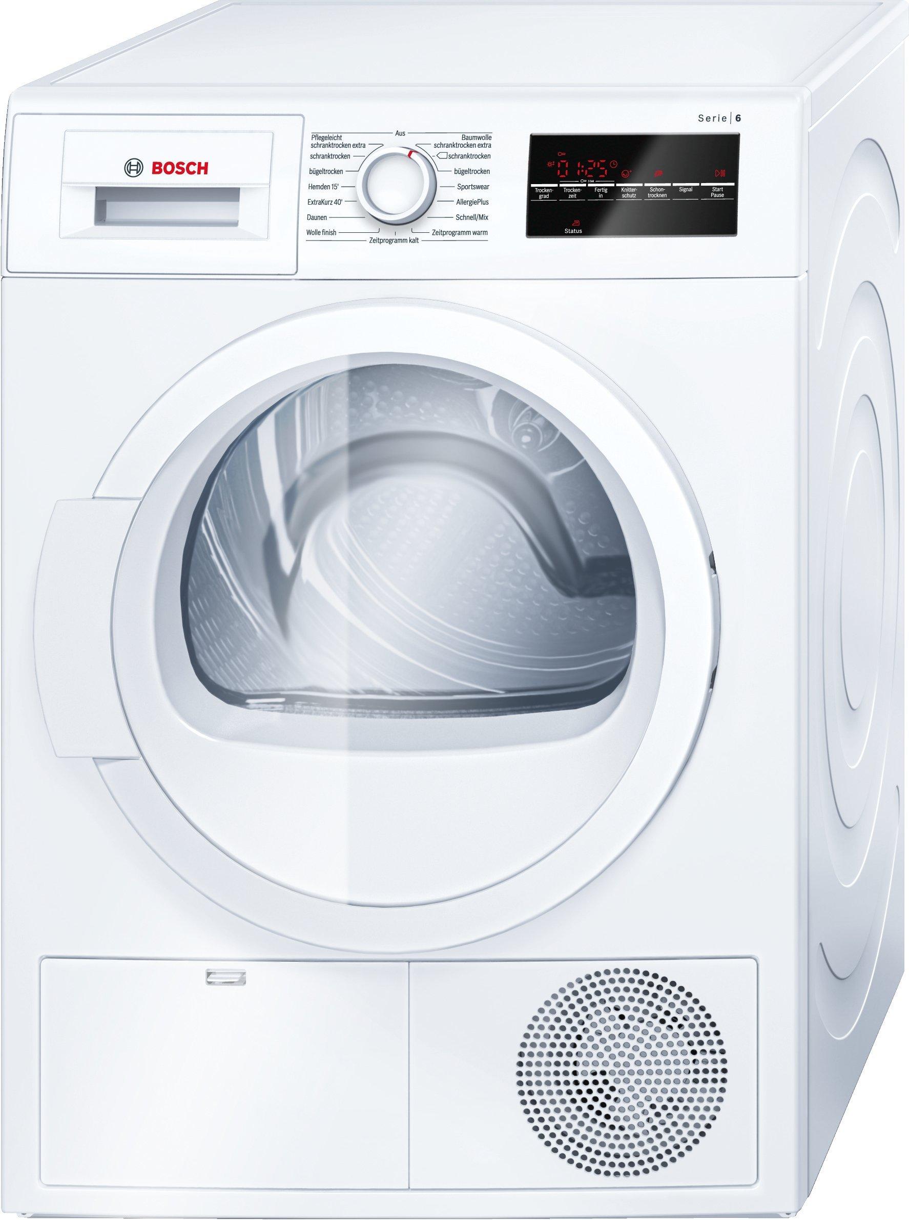 Bosch WTG86400 Serie 6 Wärmepumpentrockner, Kondenstrockner, 8 kg Füllmenge, weiß