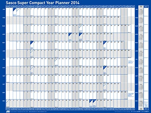 Sasco 2014 Mounted Super Compact Year Planner Kit, 400 x 300 mm ...