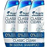 Head & Shoulders Classic Clean Anti Dandruff Shampoo Set, Dandruff Scalp Treatment, 3x 500 ml Shampoo Pack, Clinically Proven