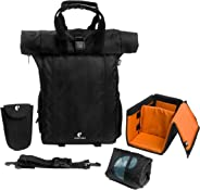 CarryPro Hobo25 v2.0 Rolltop Laptop Backpack with Rain Cover, Pouch, Waist Belt and Camera Box(Black)
