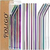 POLIGO 13 pièces ensemble de pailles en inox - pailles réutilisables inox - 4pcs incurvées, 4pcs droites, 2pcs de grande tail