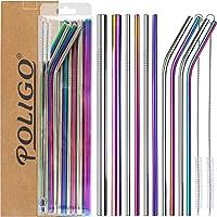 POLIGO 13 pièces ensemble de pailles en inox - pailles réutilisables inox - 4pcs incurvées, 4pcs droites, 2pcs de grande…