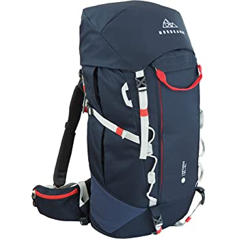 NORDKAMM – Backpacker Rucksack, Trekking-Rucksack, 50l - 60l, blau, Damen u. Herren, Reiserucksack, Top- u. Frontlader, für Weltreise, Camping, Outdoor, Backpacking, verstellbar