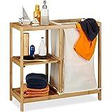 Relaxdays Etagère de salle de bain corbeille à linge, 3 étages, bambou, panier à linge, sac linge, 65x68x33 cm, nature