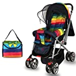 BabyGo Delight Reversible Baby Stroller and Pram with Mosquito Net, Mama Diaper Bag and Wheel Breaks (Blue)