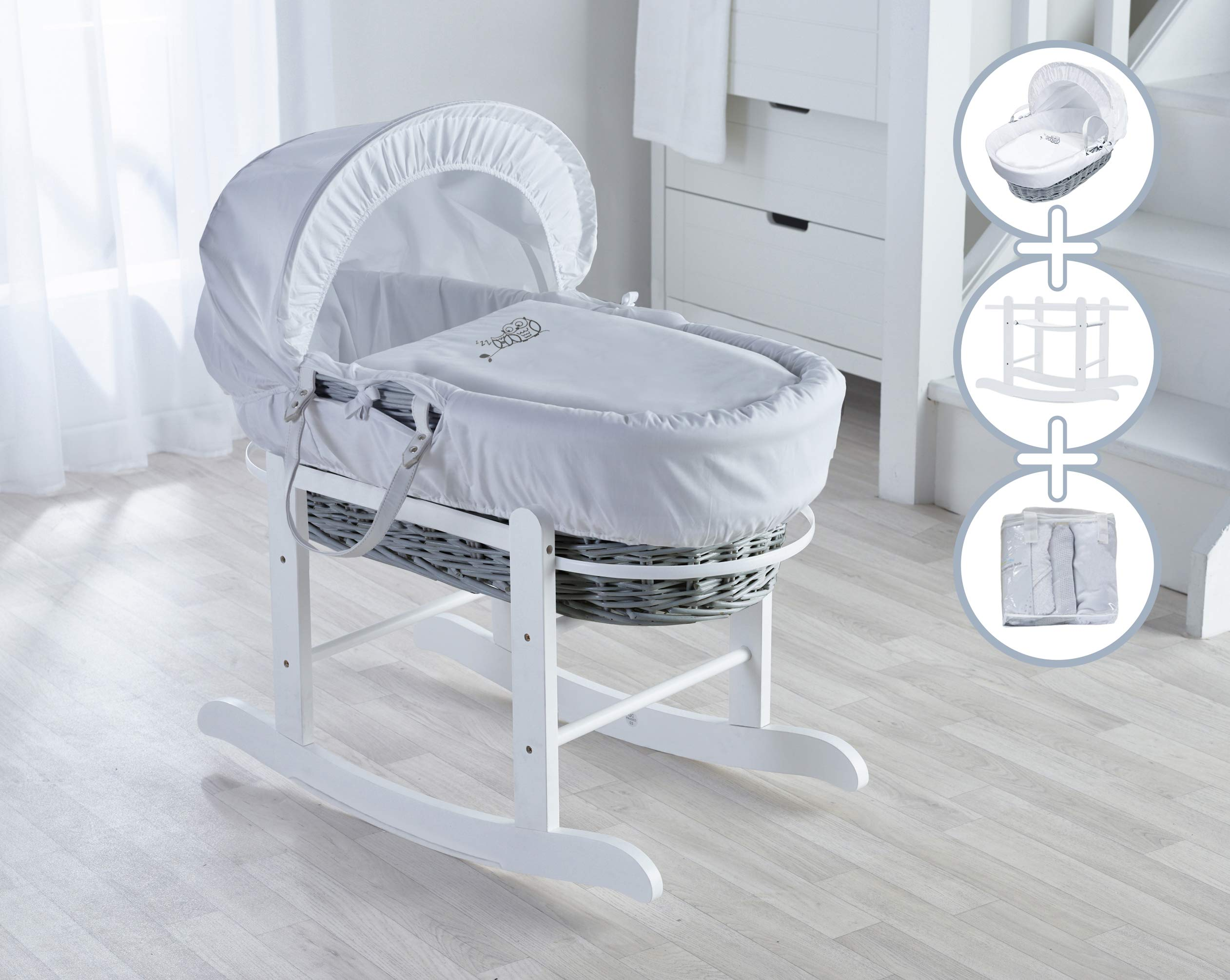 Sleepy Little Owl Moses Basket, Deluxe Rocking Stand and Starter Set Bundle Deal Elegant Baby Stylish Elegant Baby Exclusive moses basket Opulent cotton blend fabric with a luxurious soft padded surround Baby Essentials Bundle in white containing hooded towel, fleece blanket and cellular blanket 1