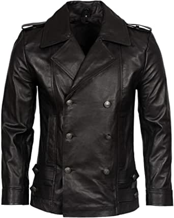 Mens Classic German Navy Military Peacoat Black Cowhide Leather Jacket