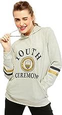 ZEYO Off White Hoodie Women Printed | Stylish Full Sleeve Cotton Sweatshirts Women