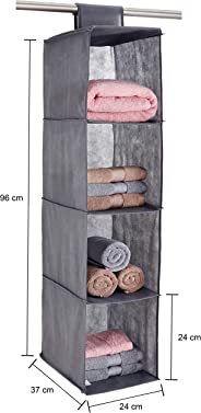Amazon Brand - Solimo Fabric Hanging Shelf Organiser, Grey