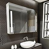 Artforma Armoire pour de Salle de Bain avec Miroir et Éclairage LED avec 3-Porte (100x72x16,6 cm) | 17 décors au Choix | Mura