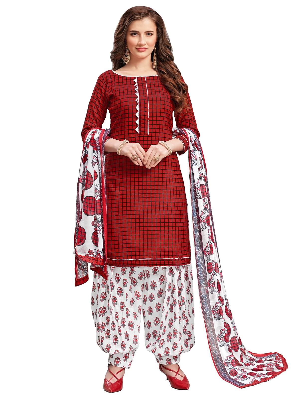 Kanchnar Women's Maroon Color Cotton PrintedDress Material