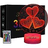 Lampada da notte 3D a forma di cuore per bambini e amanti, regali per San Valentino o compleanno, lampada da notte 3D Illusio