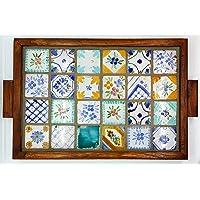 Vassoio Ceramica cornice in Legno massello Linea Mosaico Tozzetti 5x5 Oggetto d'arte Pezzo Unico Handmade Le Ceramiche…