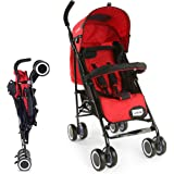 LuvLap City Stroller/Buggy, Compact & Travel Friendly, for Baby/Kids, 6-36 Months (Red)