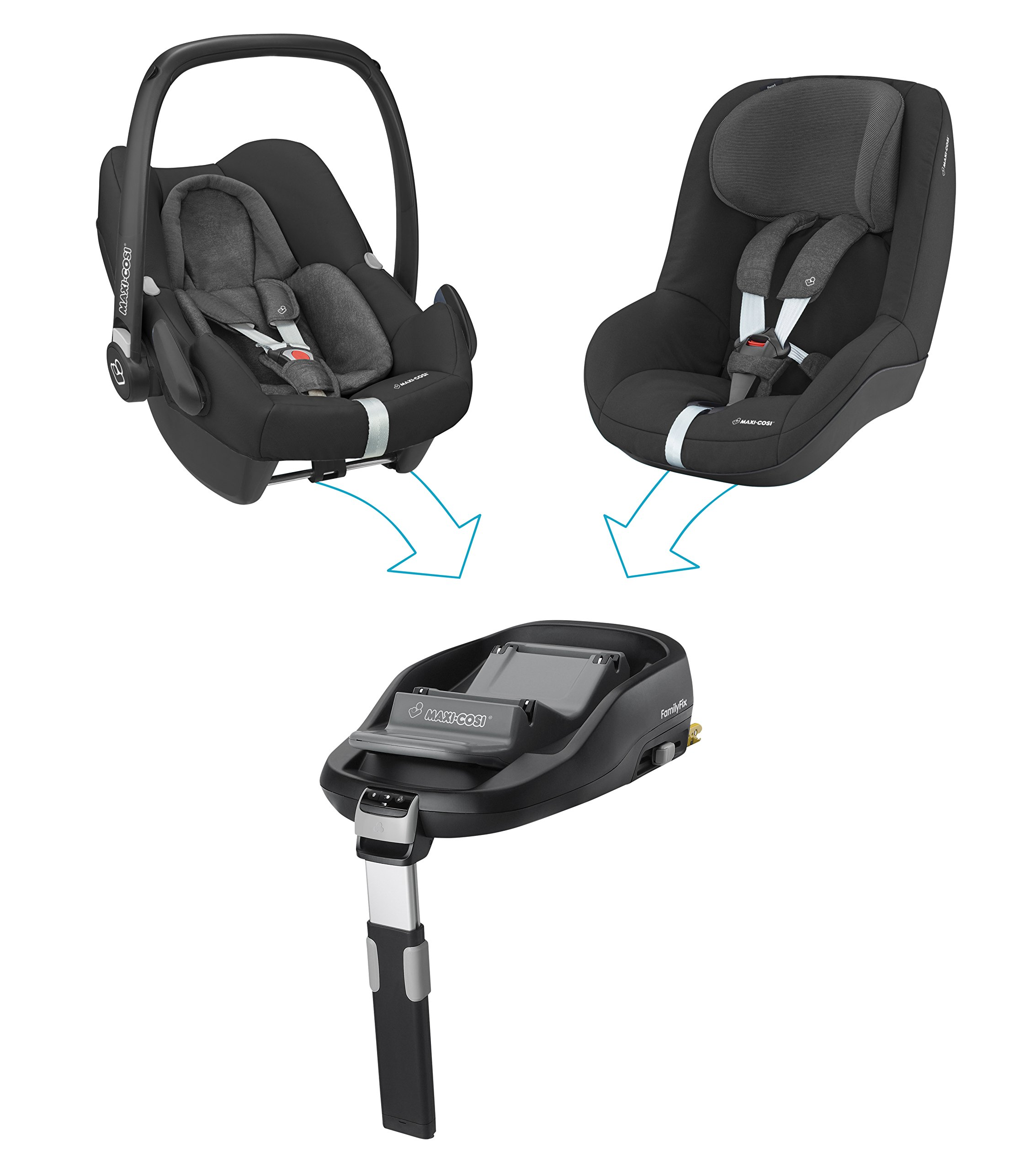 Maxi-Cosi Pearl Toddler Car Seat Group 1, ISOFIX Car Seat, Compact, , 9 Months - 4 Years, 9-18 kg, Nomad Black Maxi-Cosi Interactive visual and audible feedback when the pearl is correctly installed with the maxi-cosi family fix base in the car Spring-loaded, stay open harness to make buckling up your toddler easier as the harness stays out of the way Simultaneous harness & headrest adjustment can be operated with one-hand 3