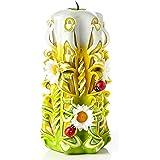 Ik Style - Grande candela intagliata a mano, senza profumo, verde, perfetta decorazione per la casa o come regalo per molte o