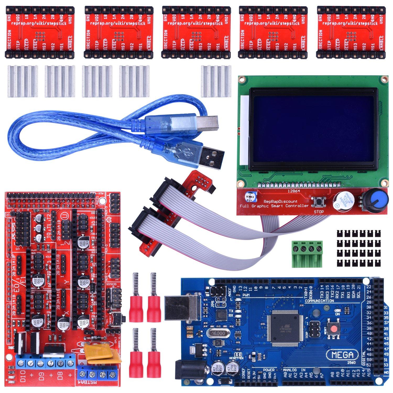 Imprimante 3D Kit de Contrôleur pour Arduino Mega 2560 Uno R3 Entrée Kits + RAMPS 1,4 + 5pcs A4988 Stepper Pilote de Moteur + LCD 12864 Pour Arduino Reprap K17
