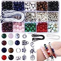 Colle 418pcs 8 mm Perle Pierre Naturelle Multicolore Pierre Semi Precieuse Perles Kit pour Bijoux avec Bracelet de…