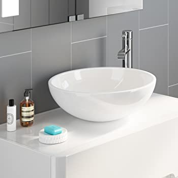 Bowl Bathroom Sinks | Ibathuk Modern Round Ceramic Cloakroom Basin Bowl Countertop