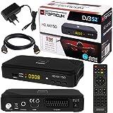 SATELLITEN SAT Receiver ✨ HB DIGITAL DVB-S/S2 Set: Hochwertiger DVB-S/S2 Receiver + HDMI Kabel mit vergoldeten Anschlüssen (HD Ready HDTV HDMI SCART USB 2.0, Koaxial Ausgang, Opticum AX150)