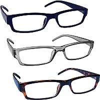The Reading Glasses Company Blu Grigio Marrone Leggero Comodo Lettori Valore 3 Pacco Uomo Donna Rrr32-372 +1,50 - 88 Gr