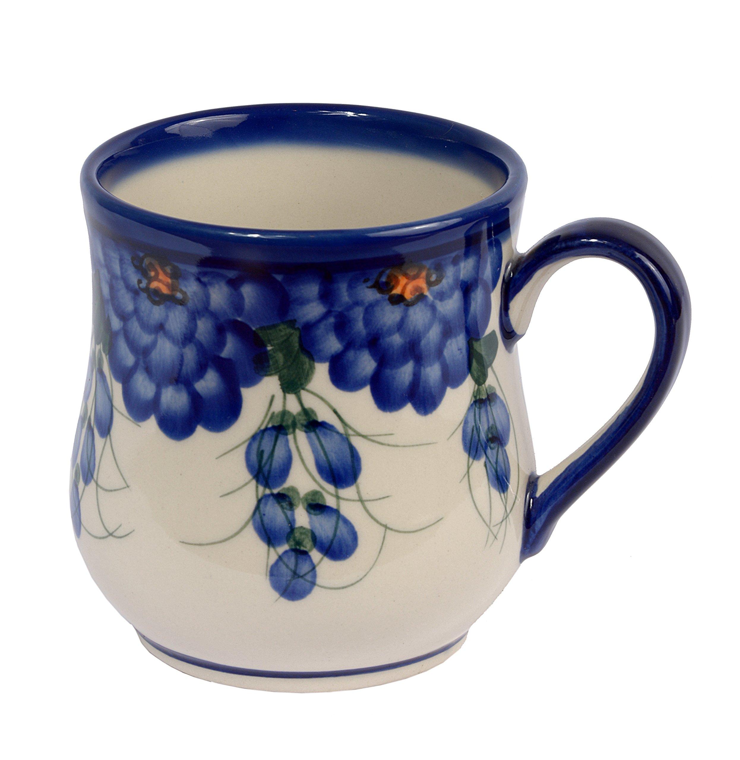 Traditional Polish Pottery, Handcrafted Ceramic Drop-shaped Mug (350 ml /12.3 fl oz), Boleslawiec Style Pattern, Q.102.ARTS
