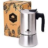 Groenenberg cafetière Italienne (Induction) | Cafetière Expresso Italienne (en INOX) 4 & 6 Tasses (200 & 300 ML) | Espresso Maker avec Une Bague d'étanchéité & Instruction détaillée | sans Aluminium