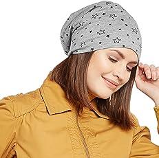 Vimal Grey Melange Star Printed Cotton Beanie Cap For Women