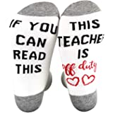 XIMIXI Novelty Socks Mens Funny Words If You Can Read This This Teacher Is Off Duty Cotton Mid Calf Crew Socks for Men, UK 6-