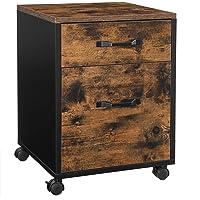 VASAGLE Caisson 2 tiroirs sur roulettes, Rangement Bureau Mobile, pour Documents, Format A4, classeurs Suspendus, Style…