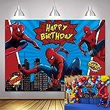 NSY Toile de fond Spiderman pour photographie de bébé garçon Happy Birthday Party Supplies Vinyle Super Hero Photo Fond Super