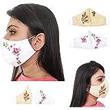 Bobbinhood Designer Full Coverage Satin Ribbon Embroidered Mask for women; Set of 2; handmade; washable; reusable…