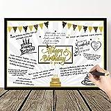 Grande Carte d'Anniversaire Étoiles de Ballons Noirs et Or Géants Carte de Voeux Message Happy Birthday Carte de Décoration d