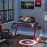 HOMCOM Mesa Gaming para Ordenador PC Escritorio de Oficina con Portavasos Gancho para Auriculares y Pies Ajustables 120x65x74