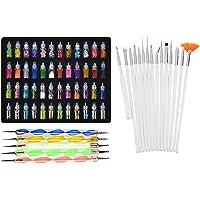 Lifestyle-You™ Combined of Exciting Nail Art Tools(68 Pcs) – 48 Bottles 3D Nail Art + 15 Pcs Nail Art Brush + 5 Pcs…